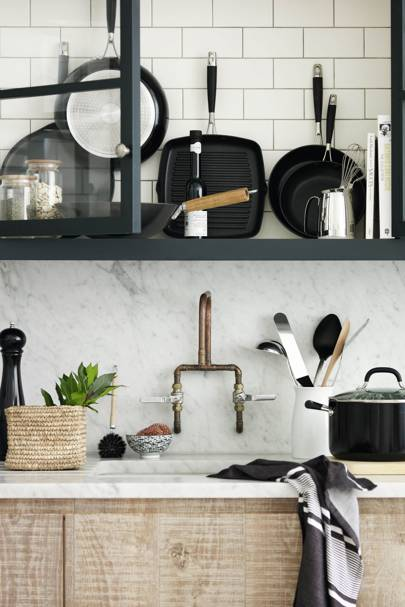 Monochrome small kitchen storage