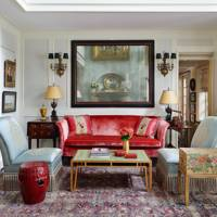 Red Velvet Sofa With Blue Panelling, Mezzanine - Living Room Design Ideas