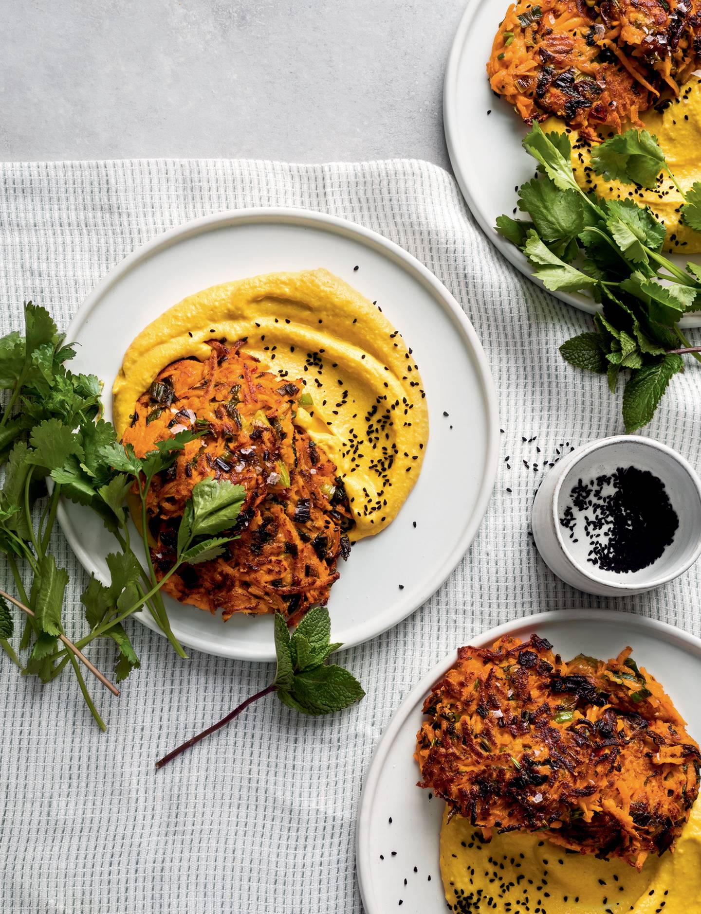 Sweet Potato Fritter Recipe With Turmeric Hummus House Garden