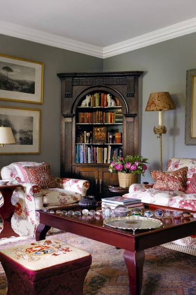 Antique Cupboard Sitting Area | Living Room Design Ideas