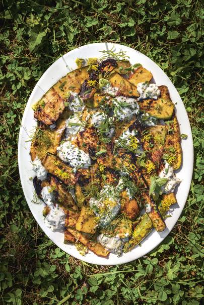 Barbecued courgettes with dill, goat's cheese, mint and yoghurt