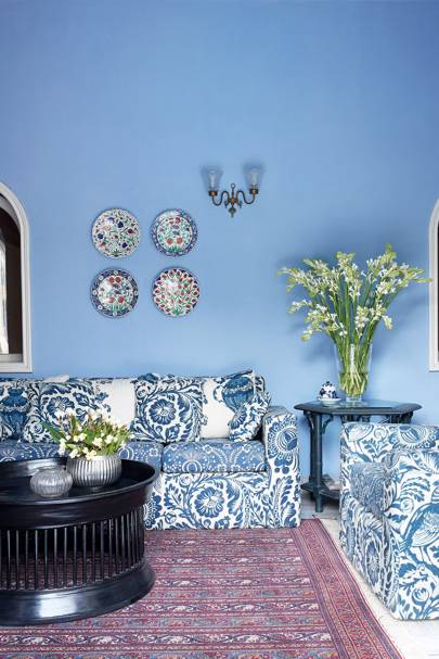 Living room with blue palette