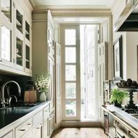 Narrow Traditional Cream Kitchen