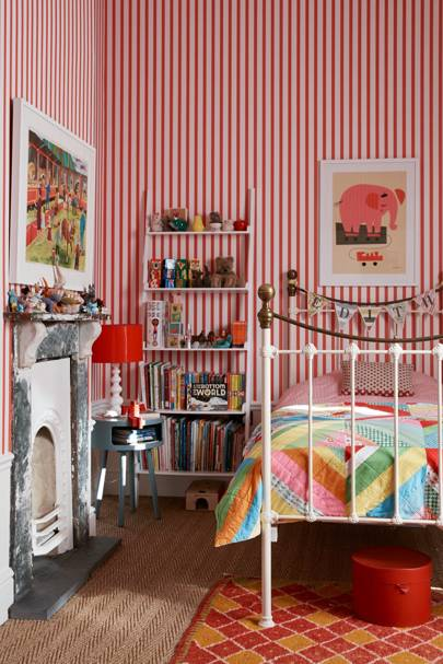 Wallpapered office home design Wall Red Striped Wallpaper House Garden Wallpaper Ideas House Garden