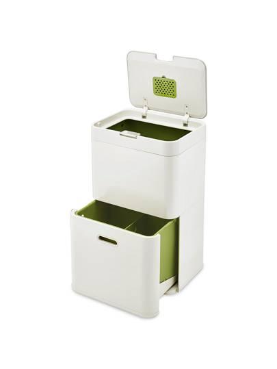 Joseph Joseph Intelligent Waste Totem Recycling Separation Unit, 48L, Stone