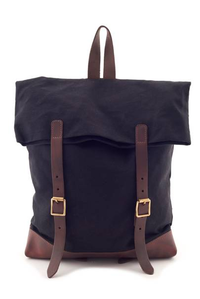Black Canvas and Leather Backpack