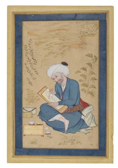 PORTRAIT OF THE ARTIST REZA 'ABBASI, BY MU'IN MUSAVVIR, ISFAHAN, IRAN