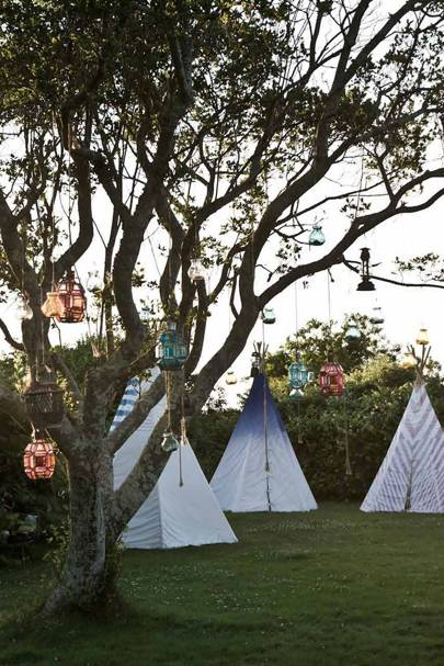 Patterned Teepees, Lanterns Hung From Trees | Garden Party Ideas
