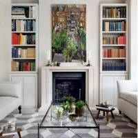 White Living Room with Alcove Bookcases