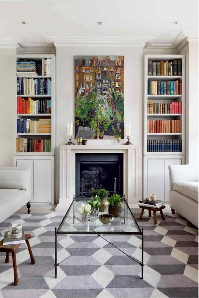 Living Room Alcove Bookcases - Bright Modern Family Home