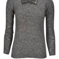 Keira Leather Collar Sweater