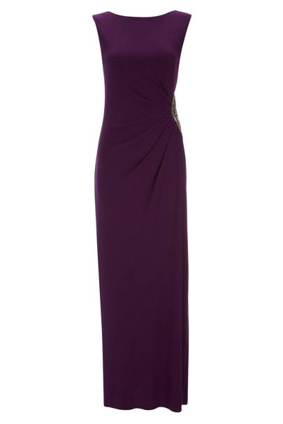 Purple Embellished Trim Maxi Dress