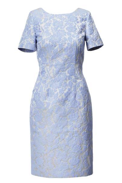 Blue Flocked Pattern Dress