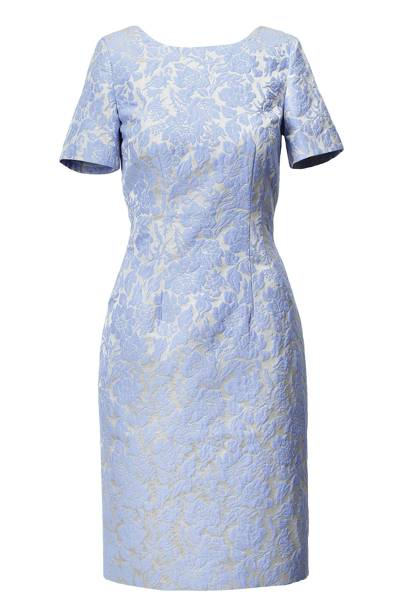 Blue Flocked Pattern Dress