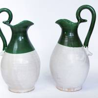 Green and White Ceramic Jug