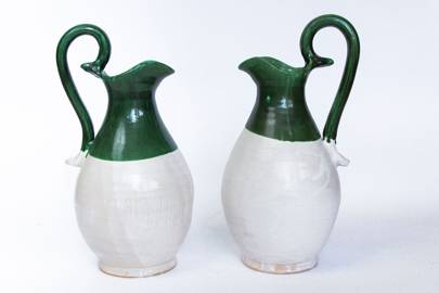 Green and White Ceramic Jug