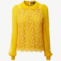 Lace Fronted Floral Blouse with Peter Pan Collar