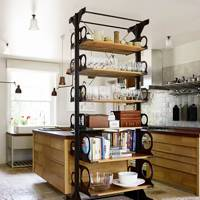 Salvaged Victorian industrial shelves