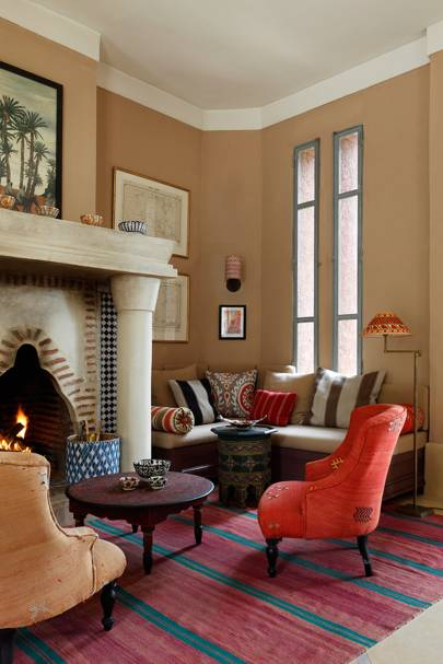 Living Room Fireplace - Moroccan House