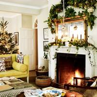 Holly & Ivy Foliage in Christmas Living Room