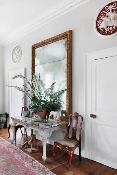 Light Grey Hallway with Large Mirror