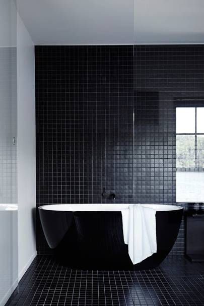 Black Matching Floor and Wall Tiles