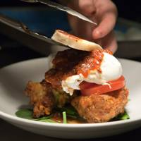 Corn Fritters with Halloumi at Eggs at The Workshop Coffee Company