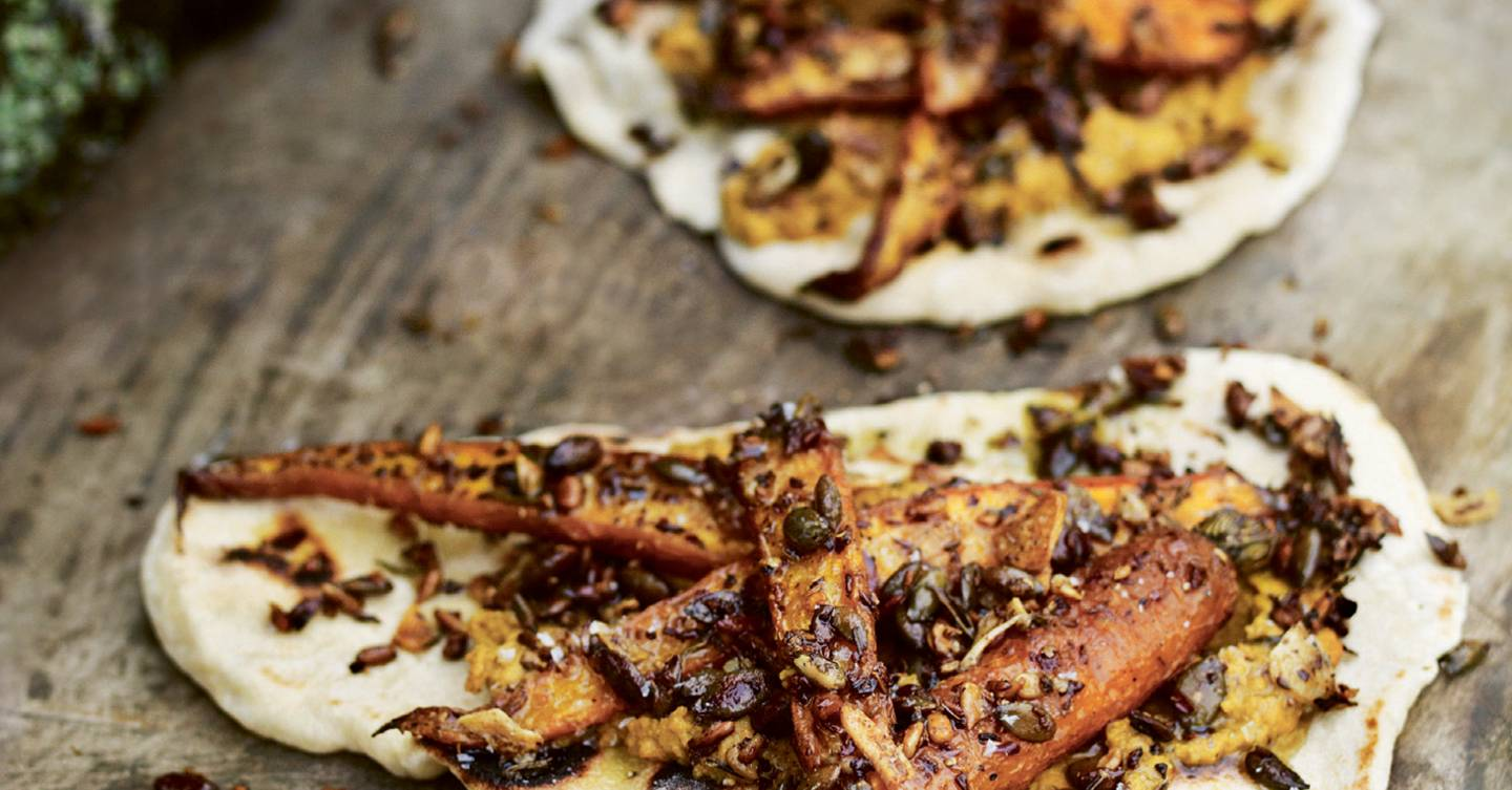 Flatbreads with roasted carrots, spices and seeds