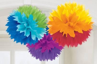 Rainbow Paper Pom Poms
