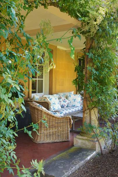 Garden Terrace With Woven Wicker Seating