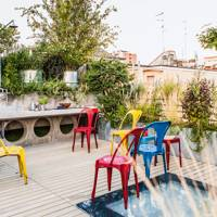 Roof Garden with Colourful Chairs