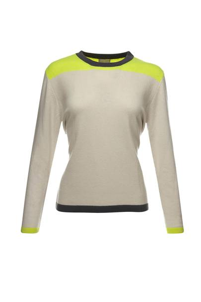 July 22: Neon 100% cashmere round neck sports luxe sweater, £175, from Orwell & Austen