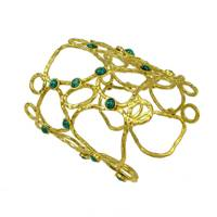 Gold Turquoise Stone Cuff