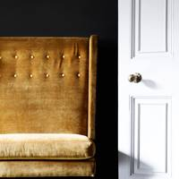 Mustard Sofa & Black Walls