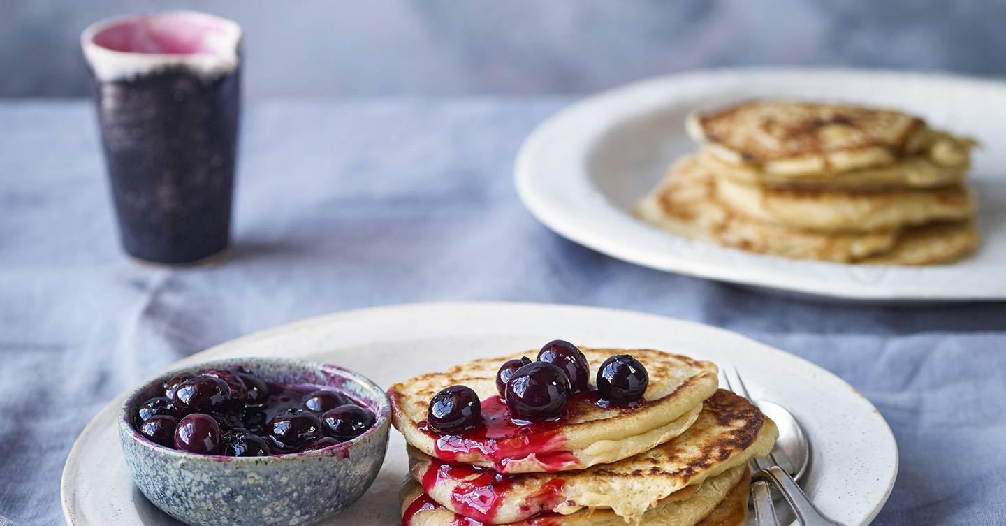Coconut pancakes with blueberry compote