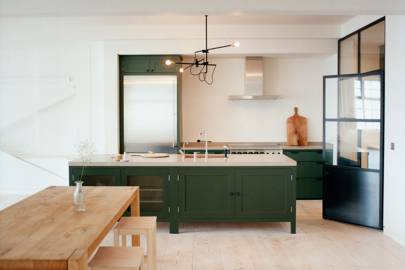 Dark Green Kitchen Island