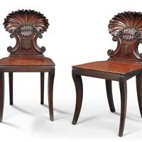 Lot 10: A Pair of William IV Mahogany Hall Chairs, circa 1830, after a design by Gillows (estimate £2,000-£3,000)
