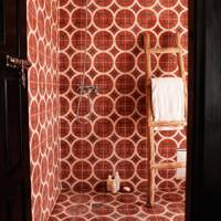 Wet room with red Moroccan tiles