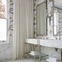 Orchid Wallpaper Bathroom