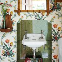Floral Wallpaper Marble Sink | Bathroom Ideas
