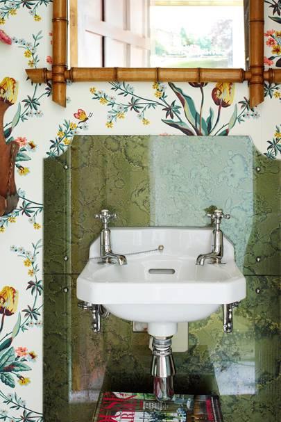 Floral Wallpaper Marble Sink Bathroom Ideas