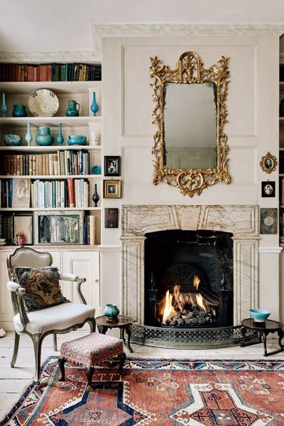 Classic English Living Room With Fireplace & Bookcase