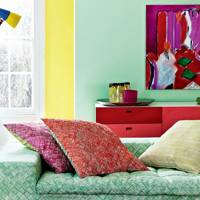 Bright Green and Yellow Living Room