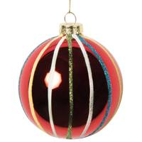 Red Glass Christmas Bauble with Coloured Stripes, £9 for 6, from Maisons Du Monde