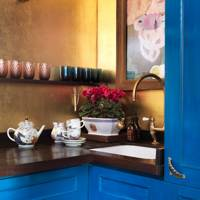 Small Blue and Gold Kitchen
