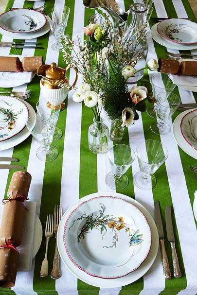 Ikea Tablecloth: Green & White Stripes