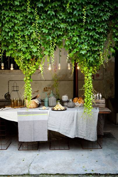 Buffet Table with Ivy and Festoon Lights