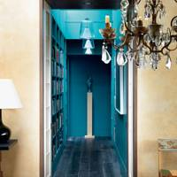 Bright Blue Corridor - Hallway Design Ideas