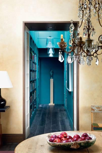 Bright Blue Corridor - Hallway Design Ideas