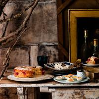 A rustic Christmas buffet with books